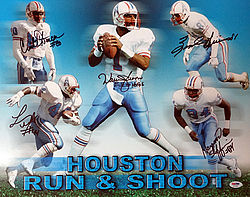 Signed Houston Oilers Run & Shoot Autographed 16x20 Photo HOF 06 With 5 Signatures Including Warren Moon - PSA/DNA Certified - Signed NFL Football Photos