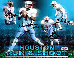Signed Houston Oilers Run & Shoot Autographed 8x10 Photo HOF 06 With 4 Signatures Including Warren Moon - PSA/DNA Certified - Signed NFL Football Photos