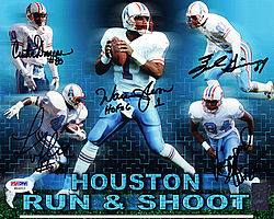 Signed Houston Oilers Run & Shoot Autographed 8x10 Photo HOF 06 With 5 Signatures Including Warren Moon - PSA/DNA Certified - Signed NFL Football Photos