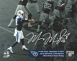 Signed Marcus Mariota Autographed 8x10 Photo Tennessee Titans First Game MM Holo Stock #95006 - Signed NFL Football Photos