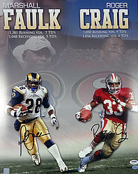 Signed Marshall Faulk & Roger Craig Autographed 16x20 Photo - PSA/DNA Certified - Signed NFL Football Photos
