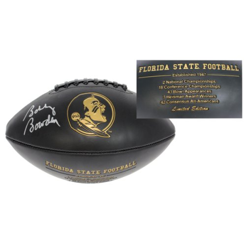 Bobby Bowden Autographed Florida State Seminoles Black Logo Football - Silver Autograph - Certified Authentic
