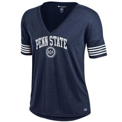 Penn State Women's V-neck T Shirt Navy Official Seal