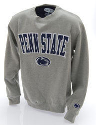 Penn State Embroidered Crewneck Sweatshirt Gray Arching Over Lion Head Nittany Lions (PSU)