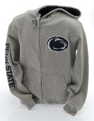 Penn State Embroidered Zip Up Hooded Sweatshirt Lion Head Gray Nittany Lions (PSU)
