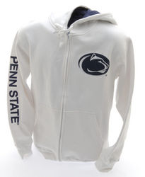Penn State Embroidered Zip Up Hooded Sweatshirt Lion Head White Nittany Lions (PSU)