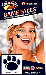 Penn State Game Faces Tattoos - Oval Lion