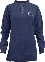 Penn State Henley Style Button Up Comfy Terry Navy Nittany Lions (PSU)