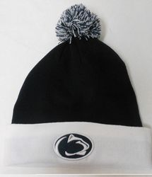 Penn State Knit Pom Pom Hat Navy With White Cuff Nittany Lions (PSU)