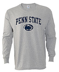 Penn State Long Sleeve Arching Over Lion Head Gray