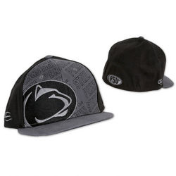 Penn State Nittany Lions Flat Brim Fitted Hat Gray Front Black Back Nittany Lions (PSU)
