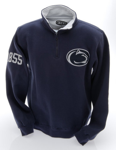 Penn State Embroidered Quarter Zip Sweatshirt Navy with White Collar
