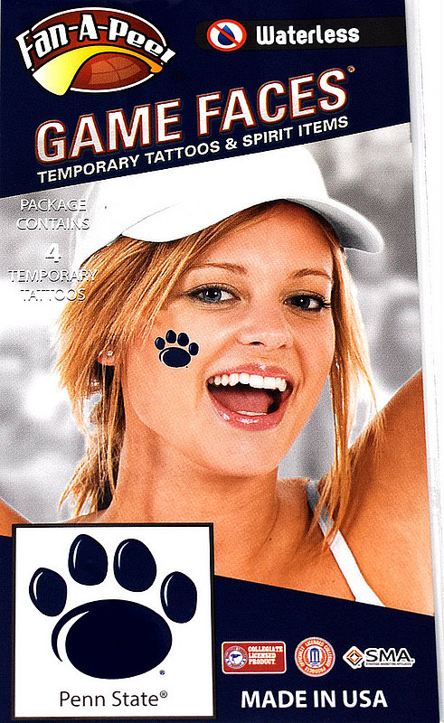 Penn State Game Faces Tattoos - Paws
