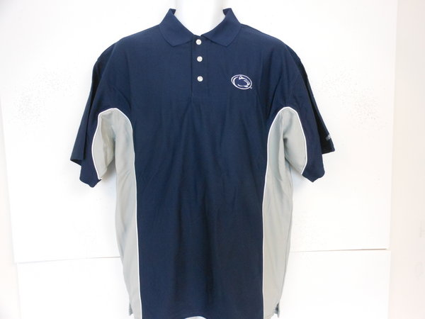 Penn State Nittany Lions Performance Golf Shirt Navy with Gray Down Sides